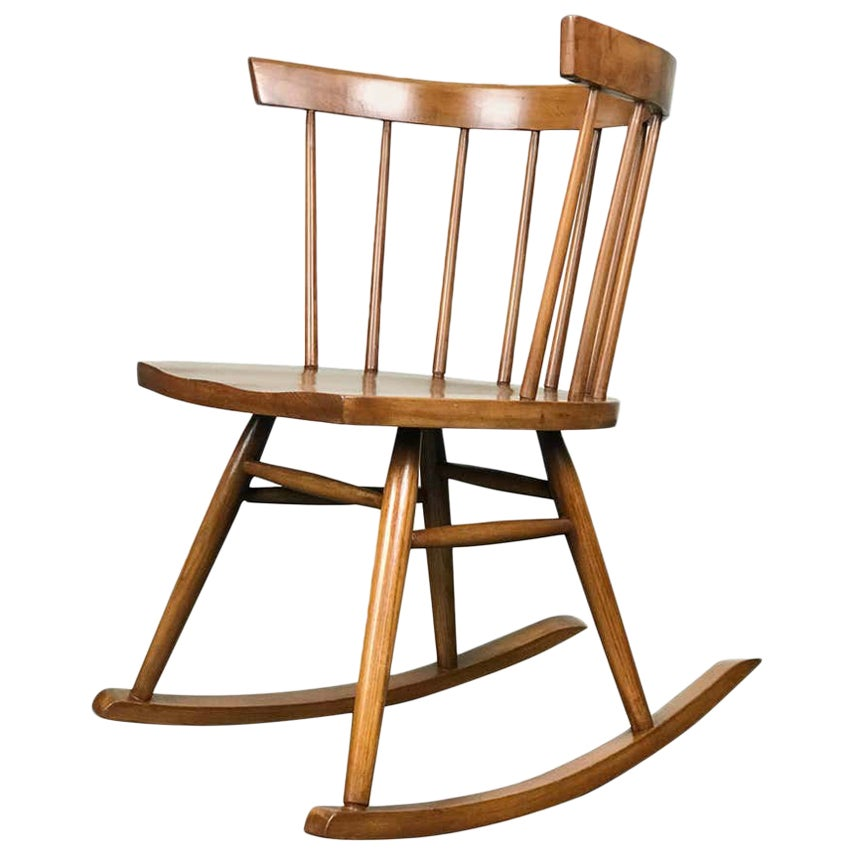 Mid Century Rocker Rocking Chair of Elmwood by Lucian Ercolani for Ercol