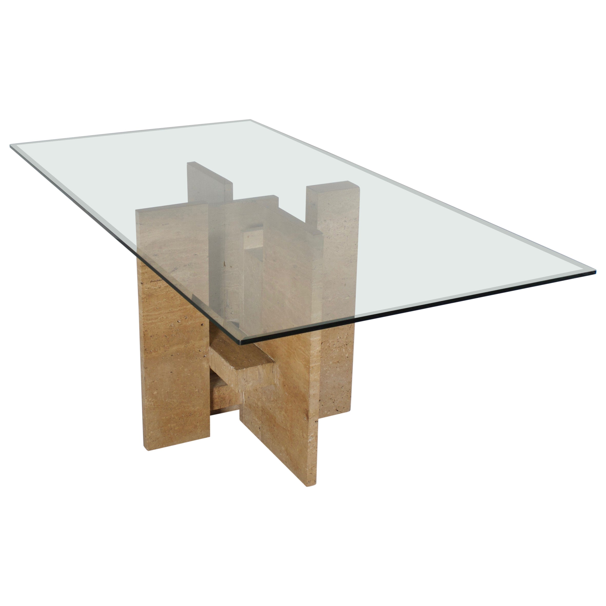 Sculptural Willy Ballez Dining Table in Travertine and Glass, Belgium 1970s