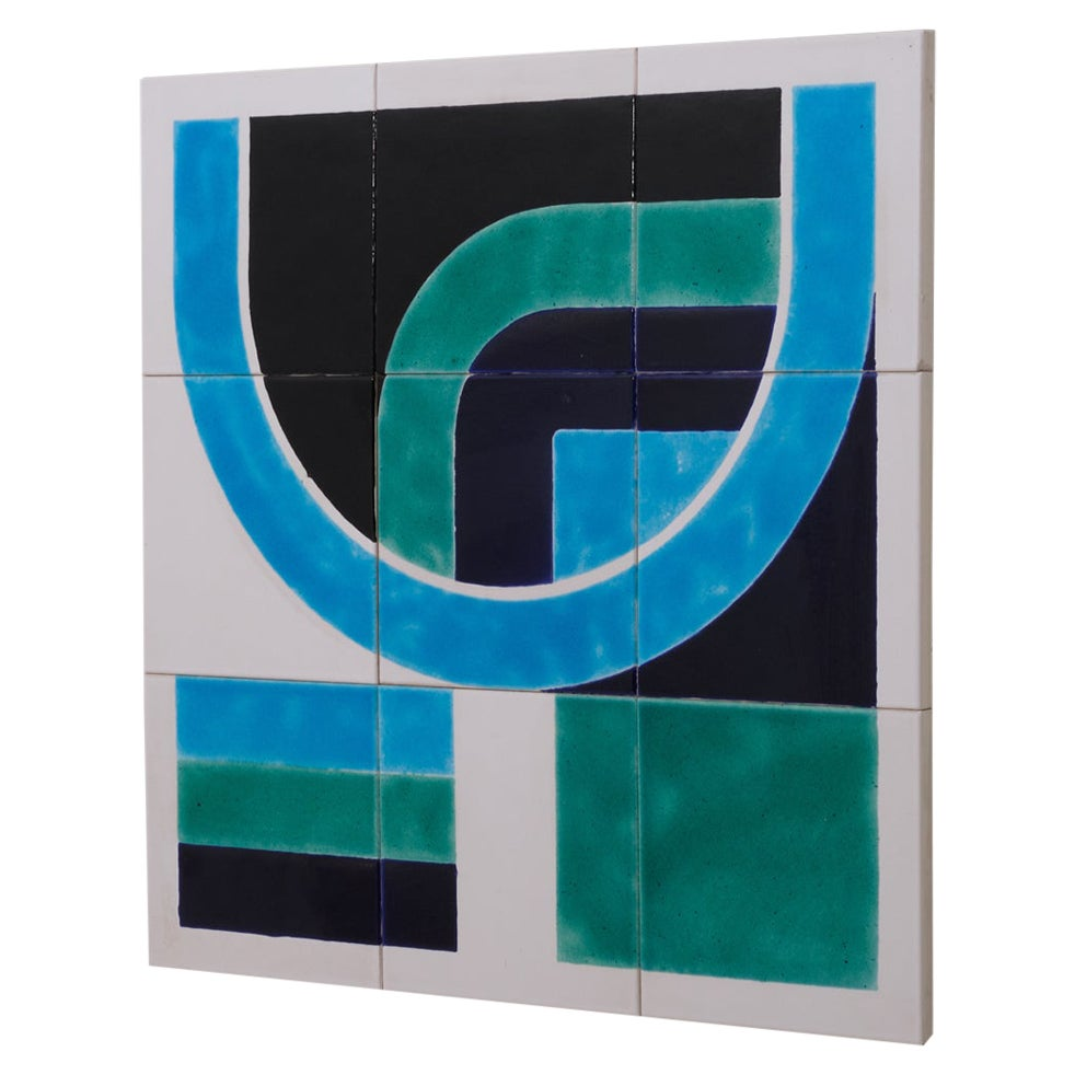 Tile Tableau with Graphic Pattern by Guus Zuiderwijk