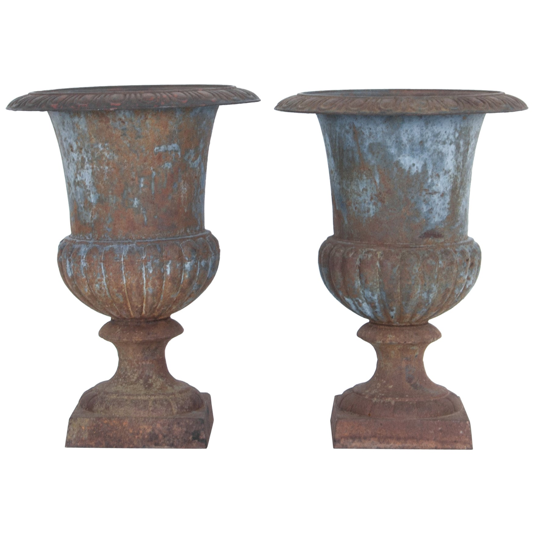 1920s French Cast Iron Urns, a Pair