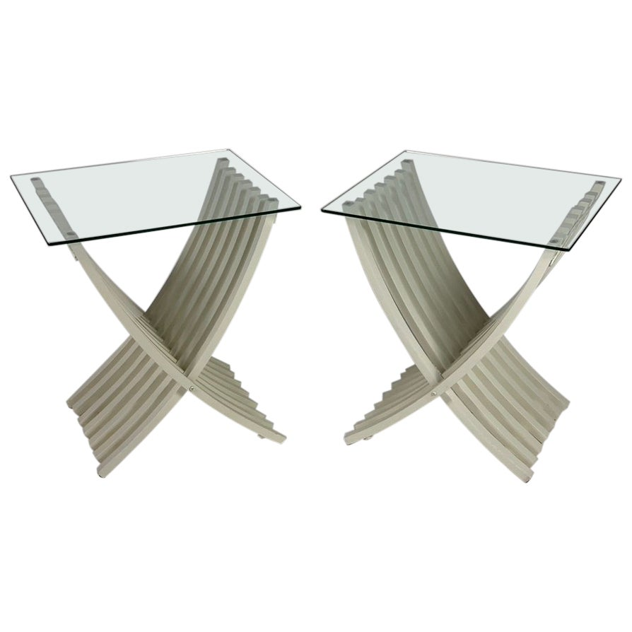 Midcentury Italian Pair of White Lacquered Folding Tables