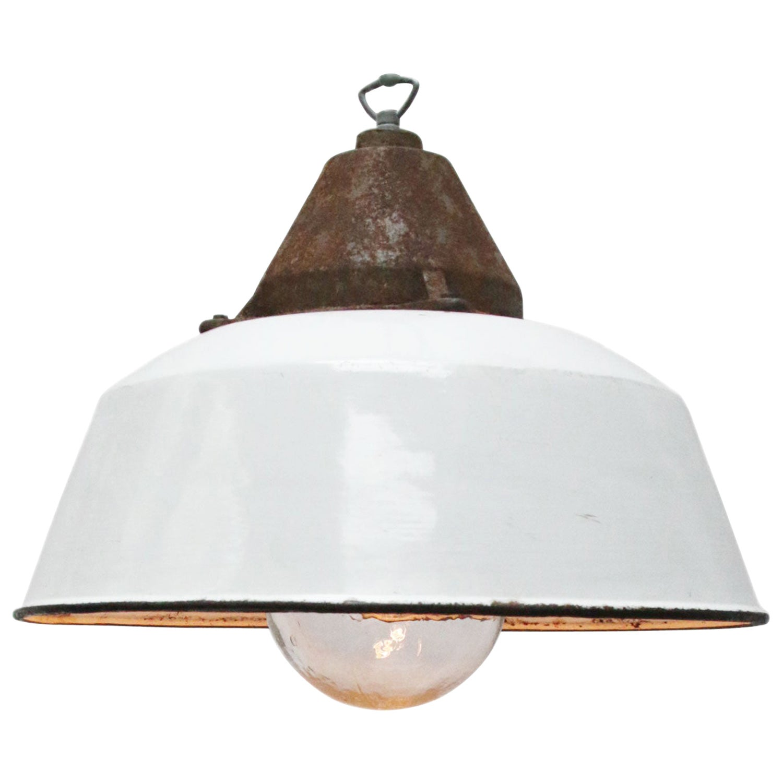 White Enamel Vintage Industrial Cast Iron Clear Glass Factory Pendant Lights
