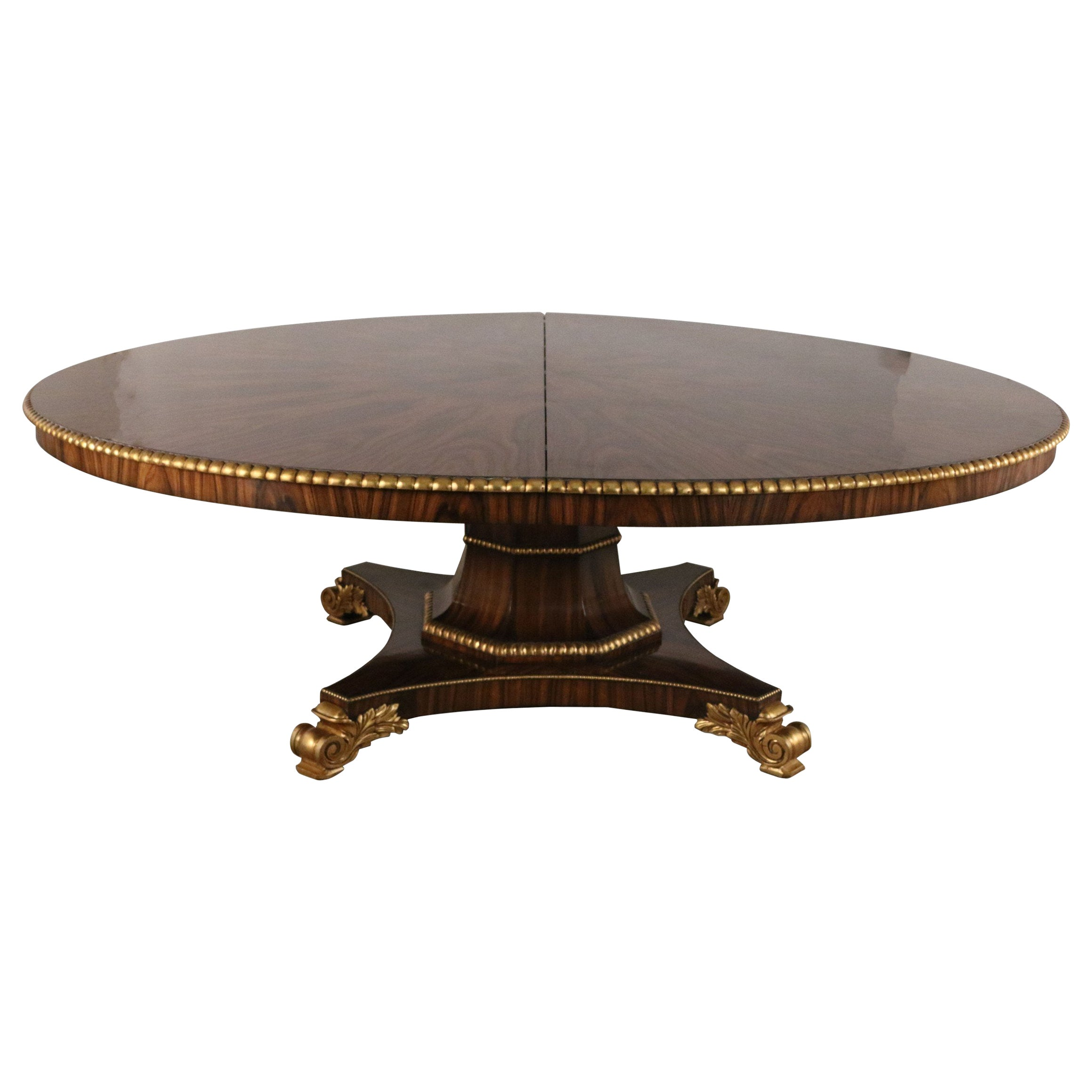 English Regency Style Mahogany and Giltwood Round Center Table