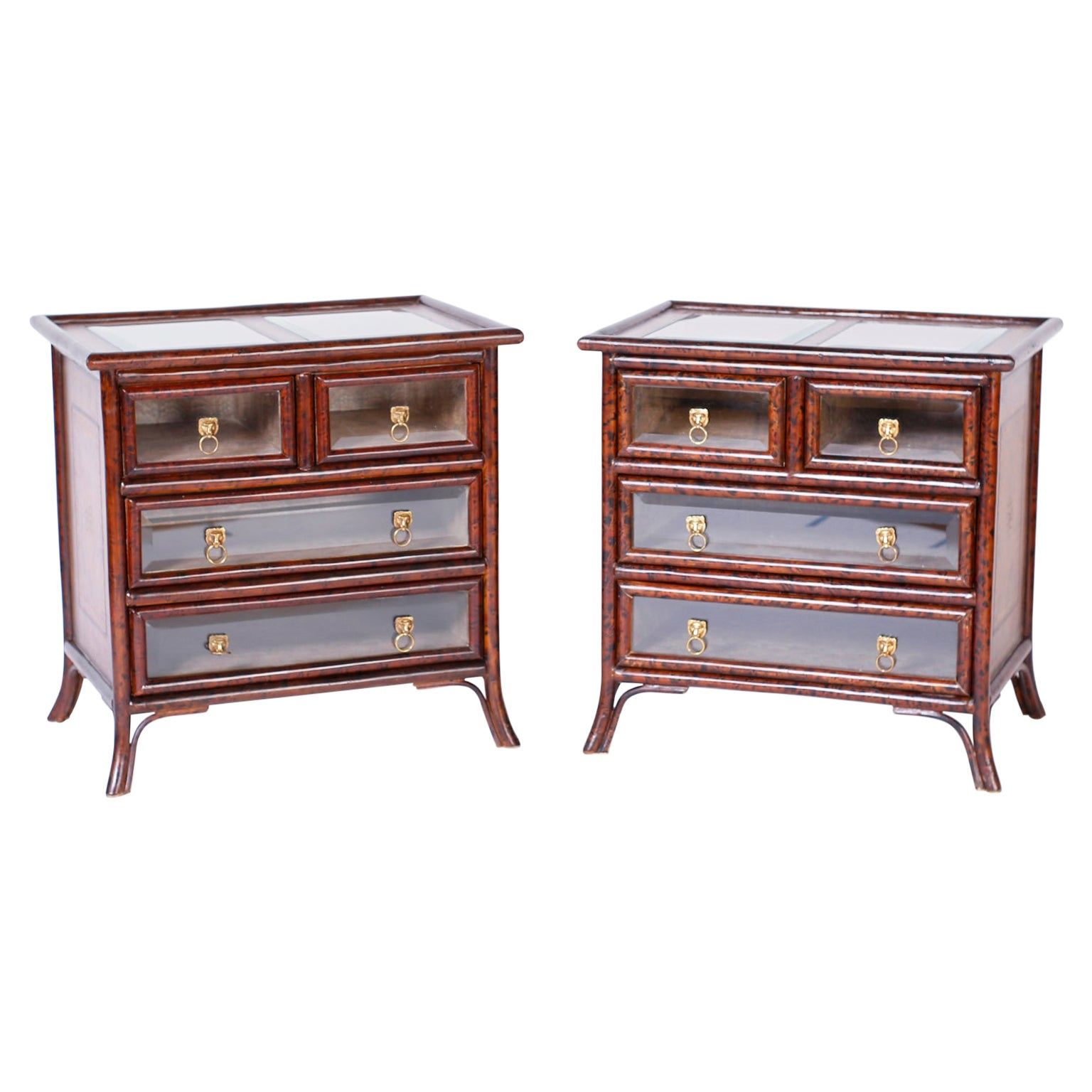 Pair of Faux Tortoise Bamboo and Leather Stands