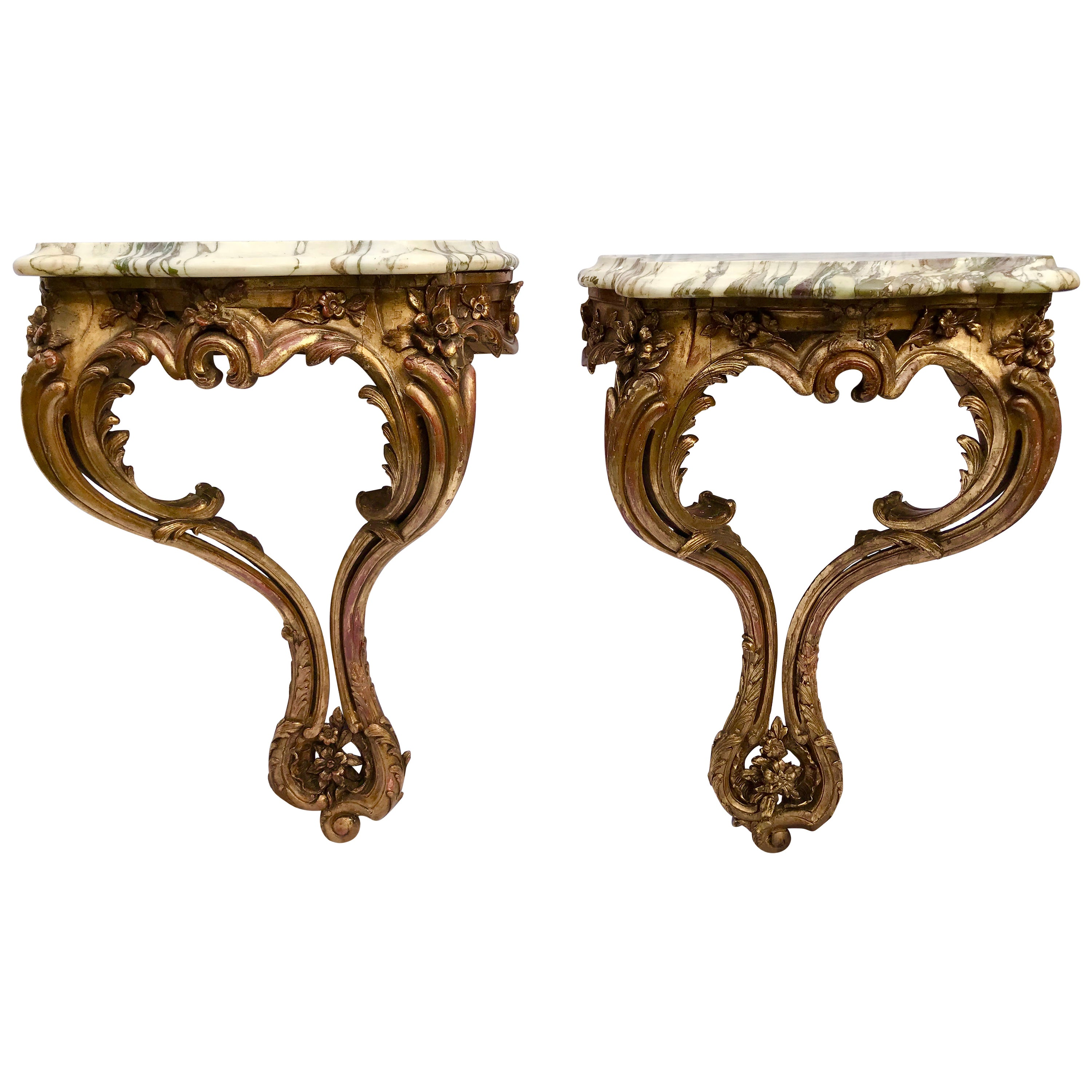 Pair of Louis XV Styled Giltwood Consoles