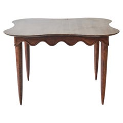Midcentury Dining Table with Scalloped Apron