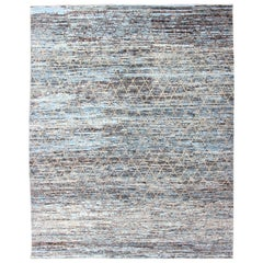 Modern Casual Design Rug in Blue, Gray, Charcoal, Brown and Neutral Tones