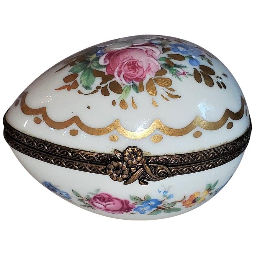 Vintage Limoges Egg Shaped Ring Box