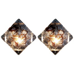 Pair of Diamond Sconces by Mazzega