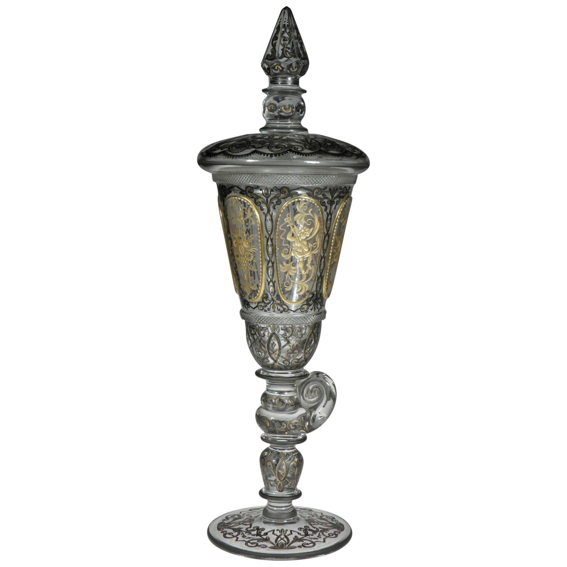 Bohemian Goblet Baroque Motive, 19th-20th Century