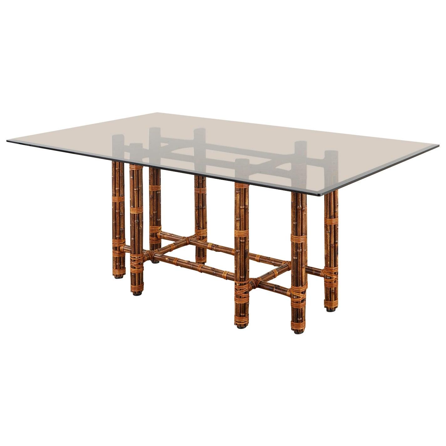 McGuire California Modern Rectangular Bamboo Rattan Dining Table