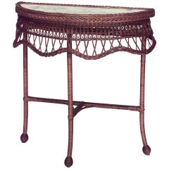 19th Century American Wicker Console Table with Glass Top