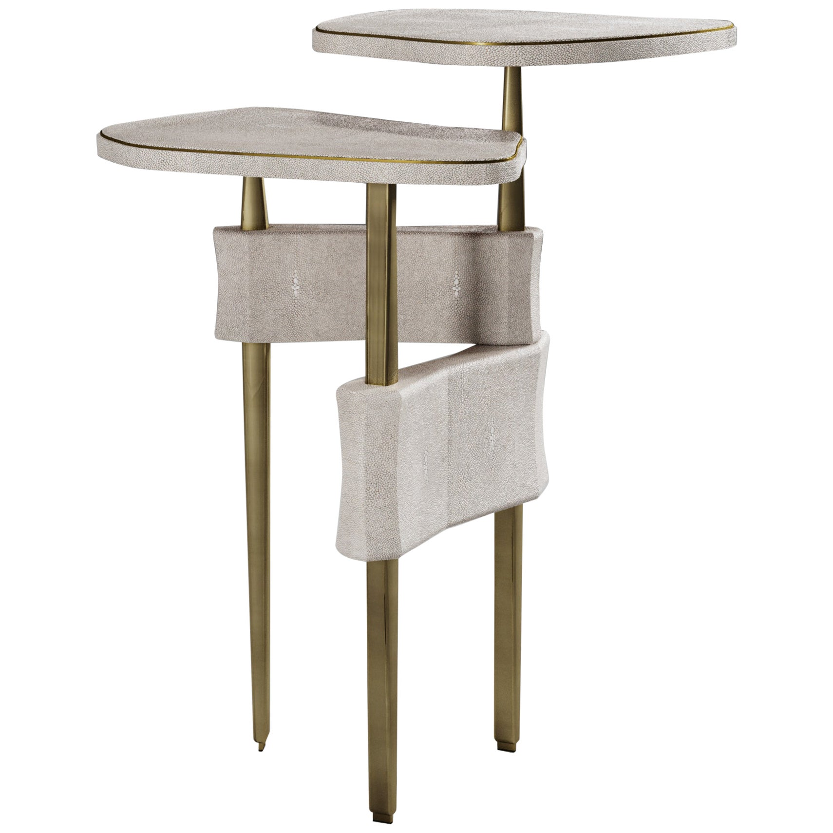Two Top Side Table in Cream Shagreen and Bronze Patina Brass by Kifu Paris