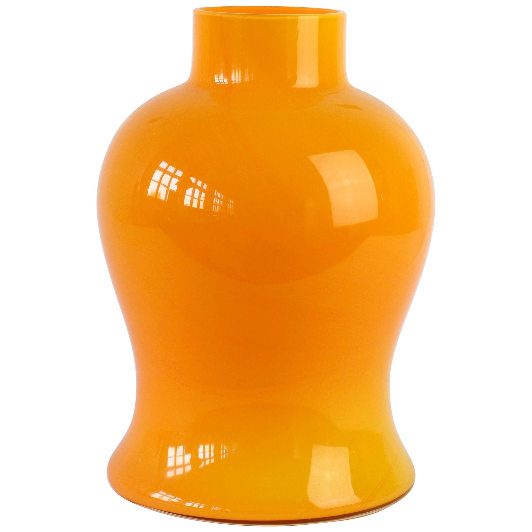 Cenedese Orange Vintage Midcentury Italian Murano Glass Vase