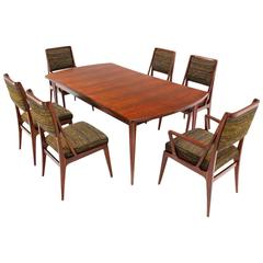Dining Table with Three Extension Leaves and Six Matching Chairs Set