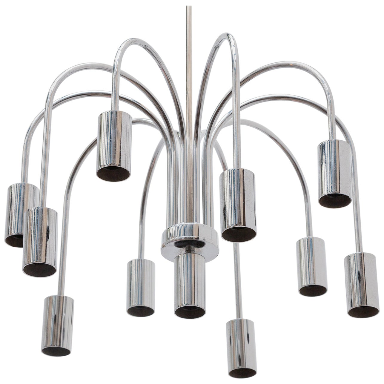 Chrome Ten-Arms Chandelier, Italy, 1970s