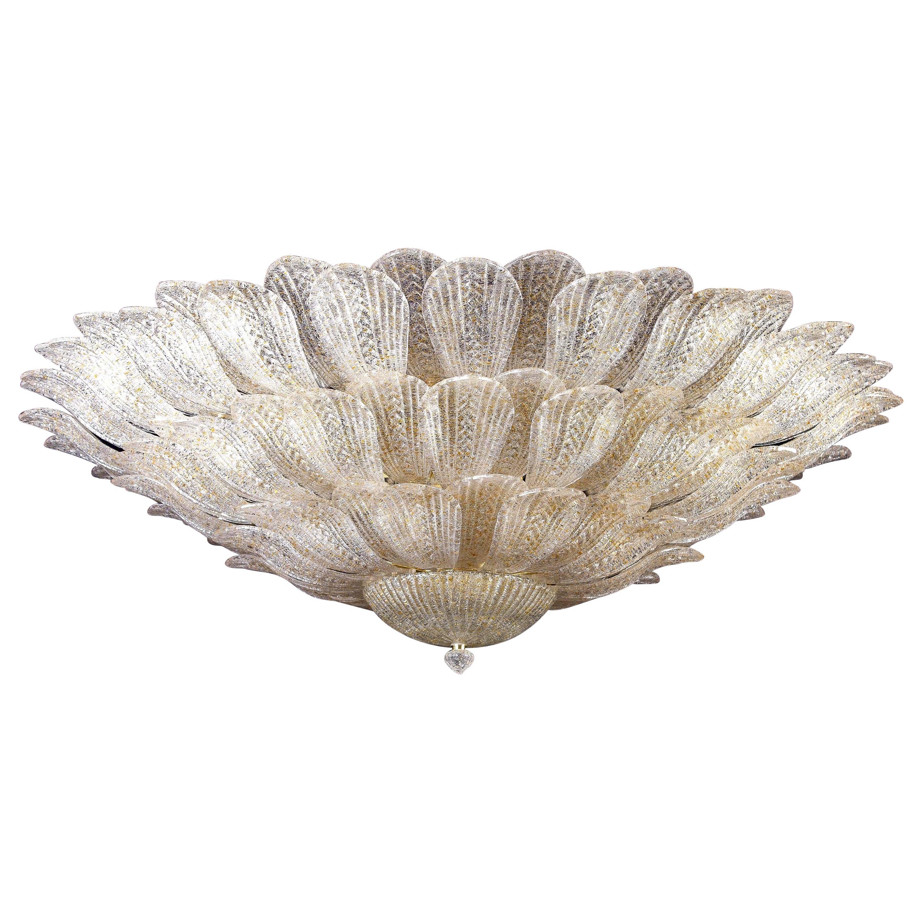 Monumental Italian Gold Leaves Murano Glass Ceiling Light or Flushmount