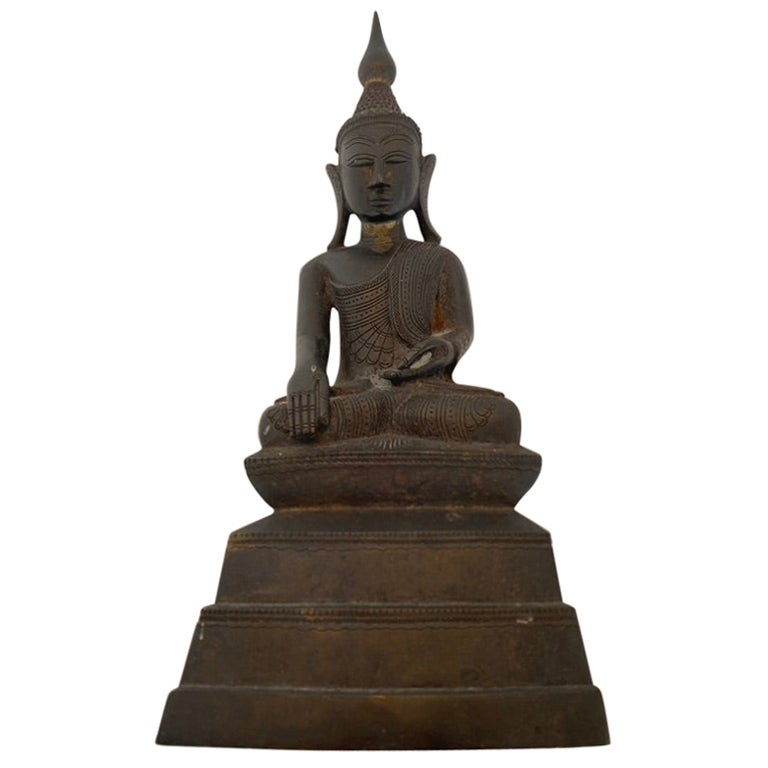 Indian Buddha Shan Bronze with Prayer Inside