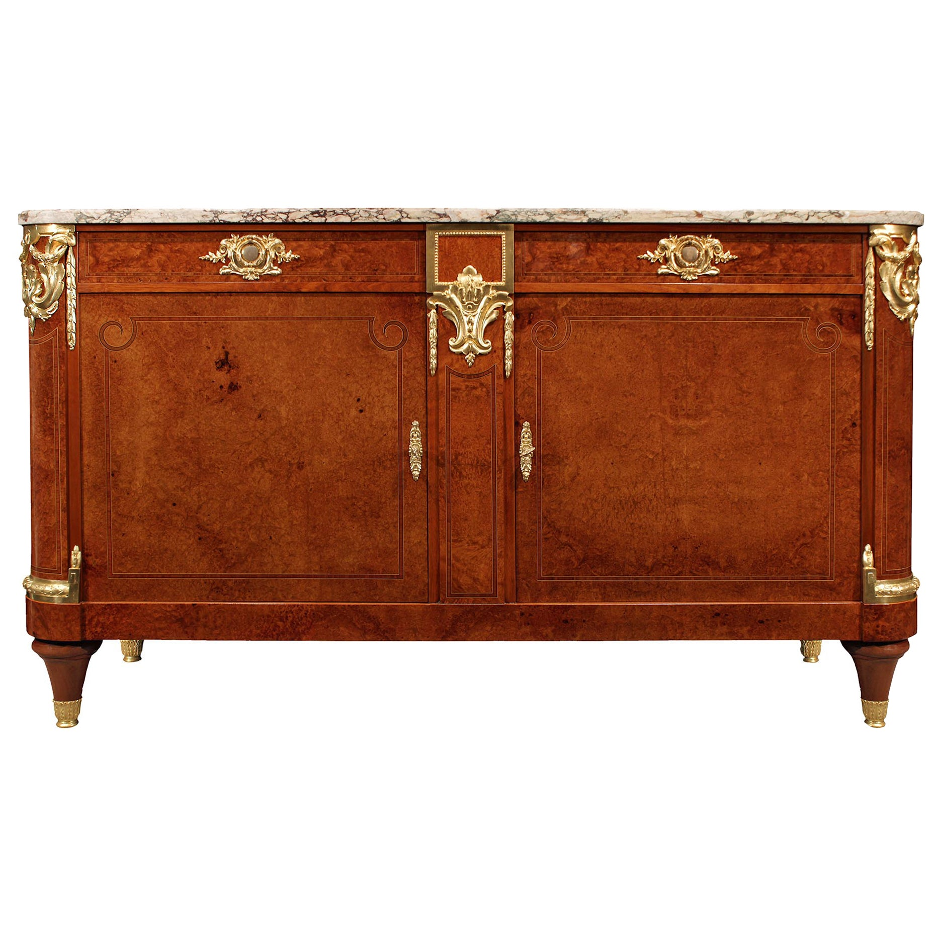 French 19th Century Empire Neoclassical Style Burl Walnut and Ormolu Buffet