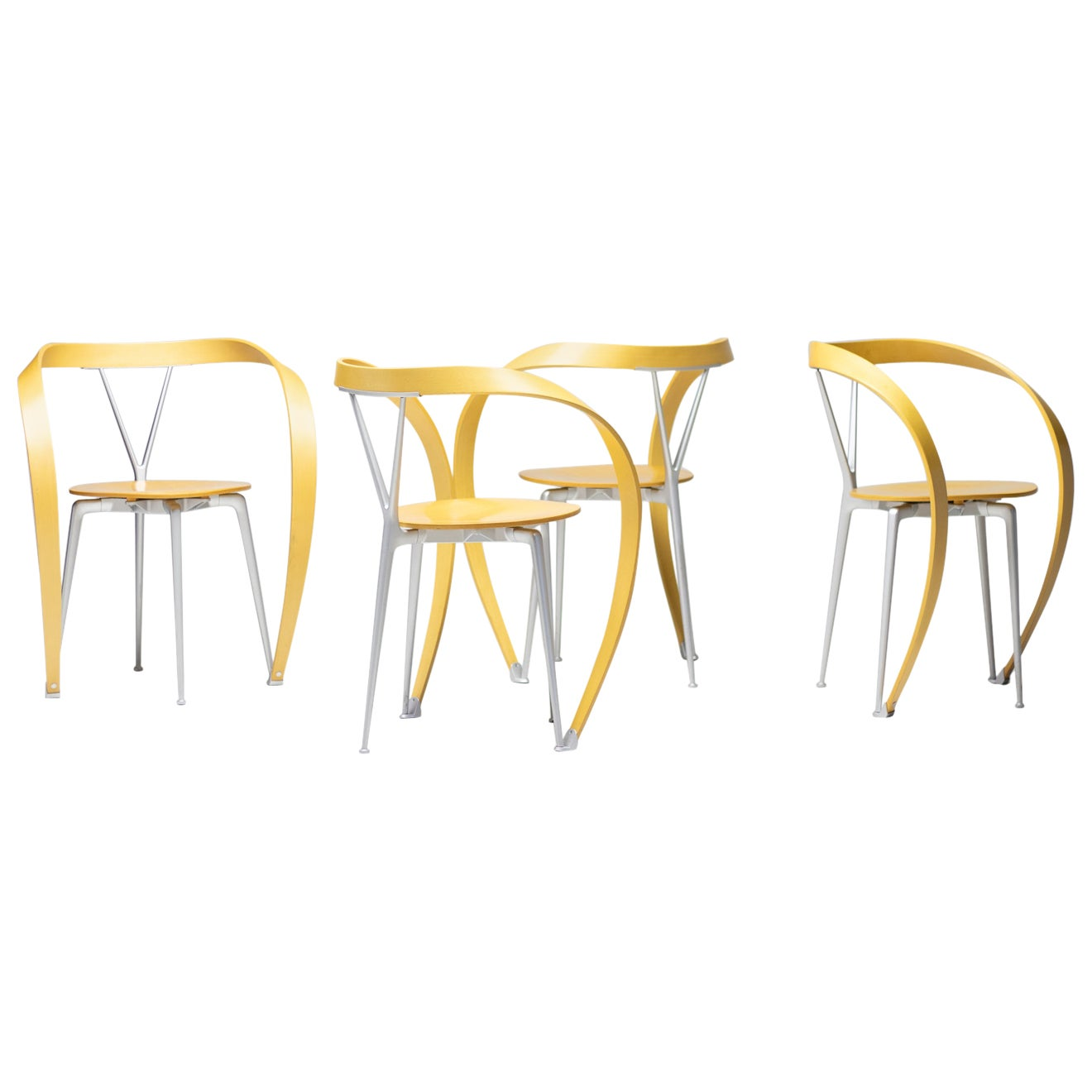 Set of Four Revers Chairs by Andrea Branzi for Cassina, Italy