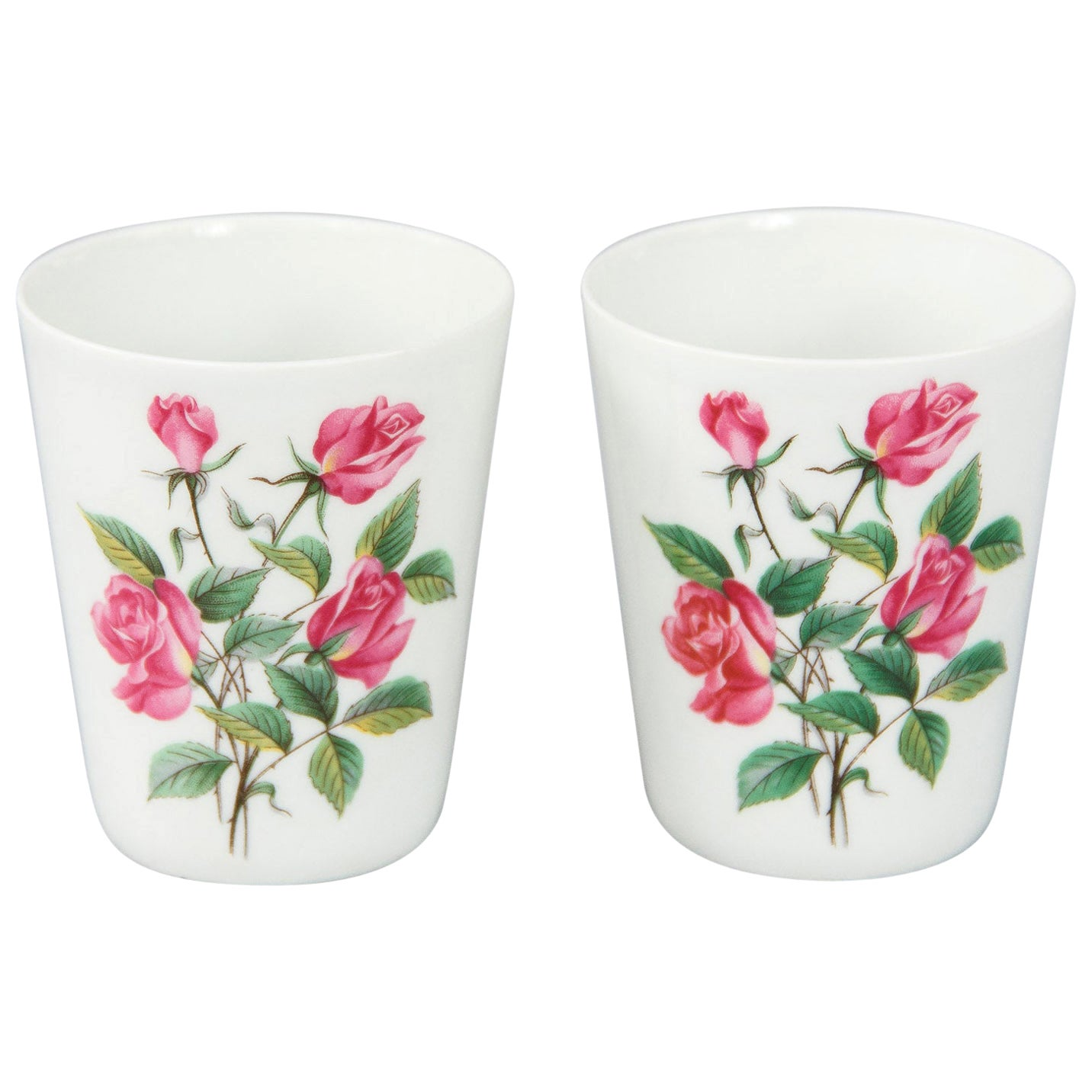 French Hand Painted Ceramic Glasses, 1950s