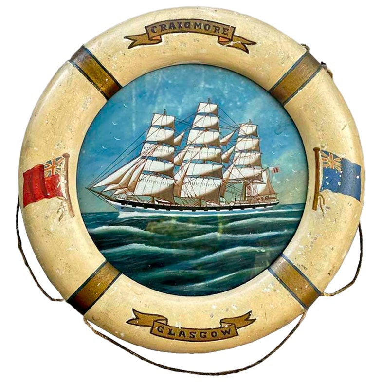 """20th Century Ship Painting """"Crown of Denmark"""", Oil on Board, in Life Ring Frame"""