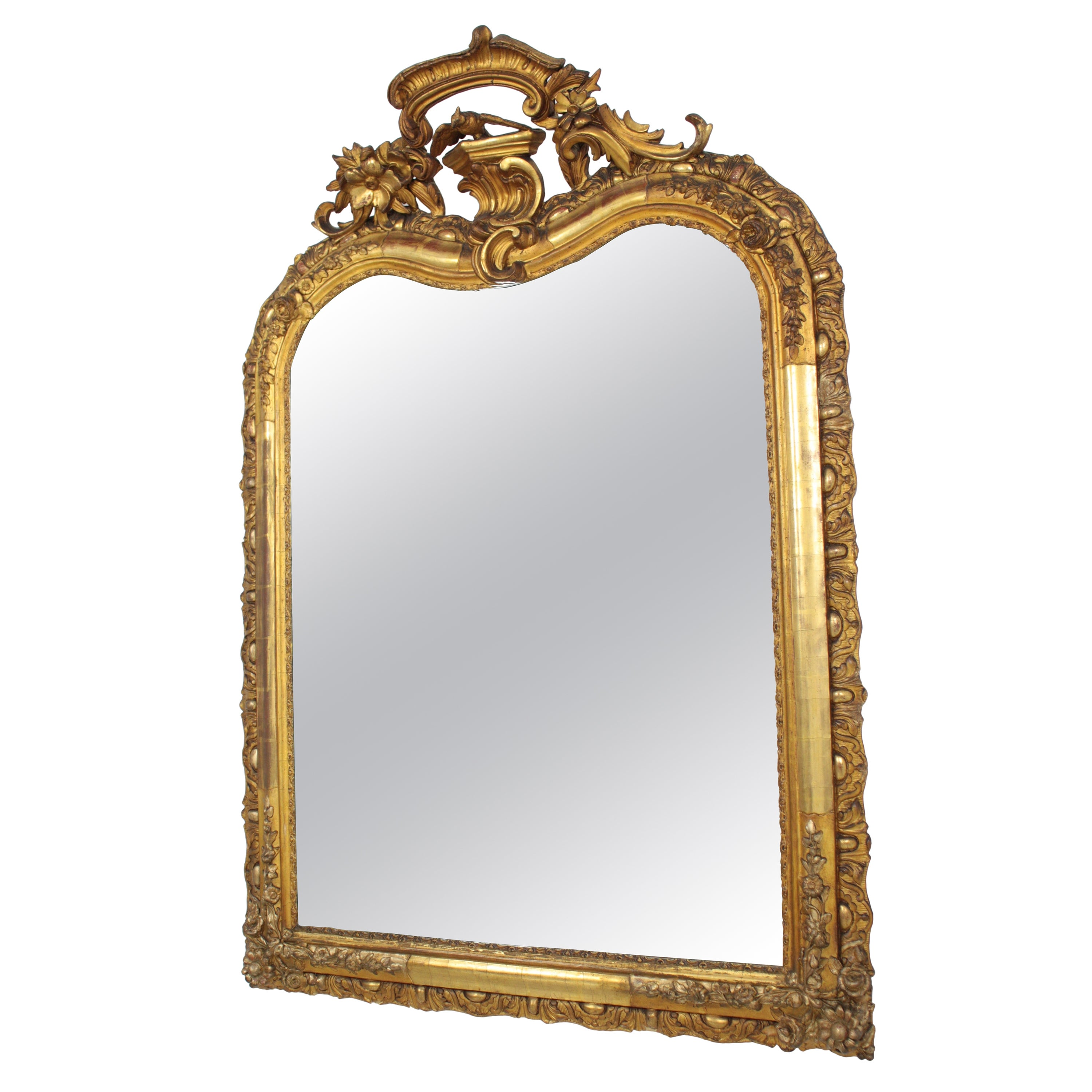 French Louis XV Carved Giltwood Mirror with Crest