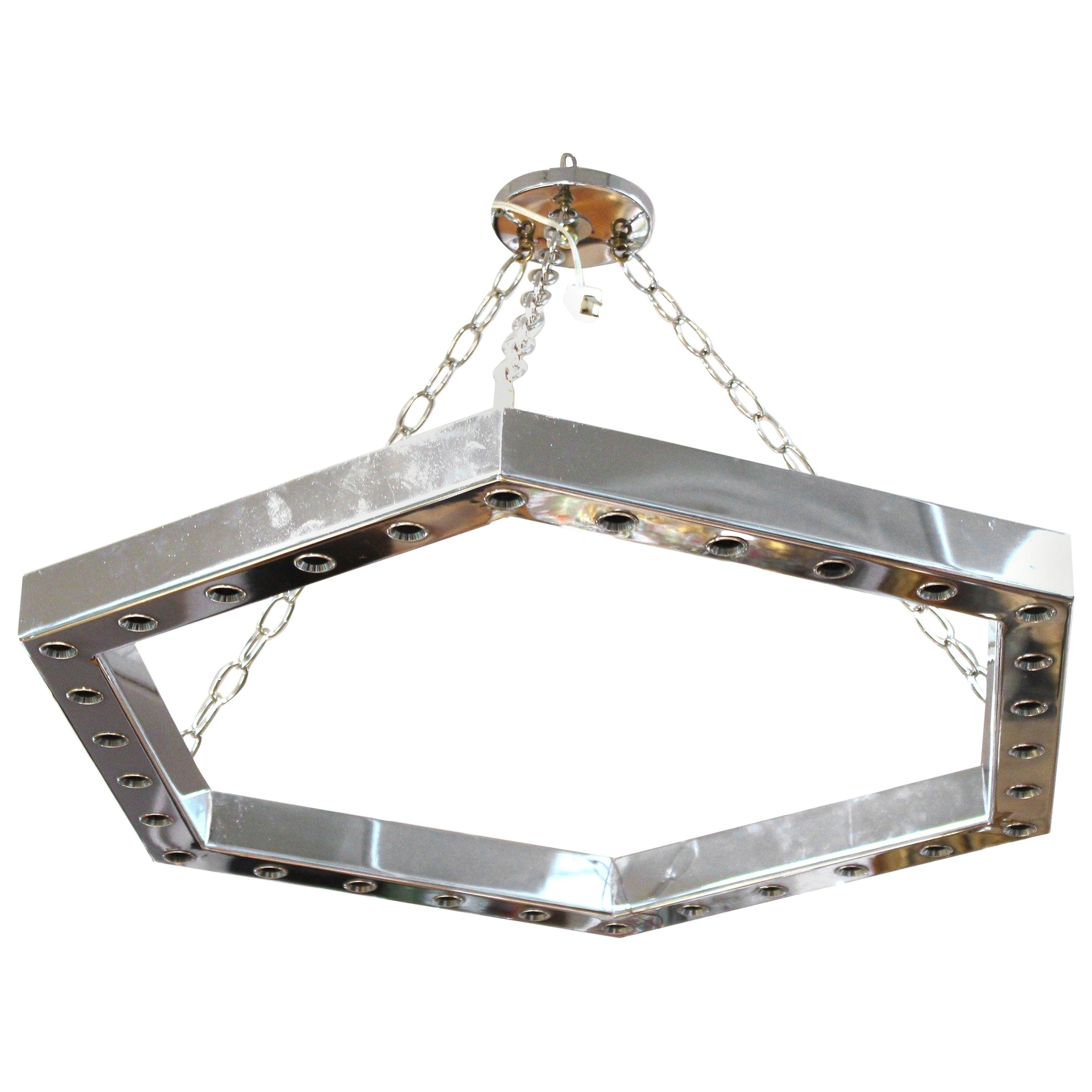 Italian Modern Sciolari Style Hexagonal Pendant Chandelier