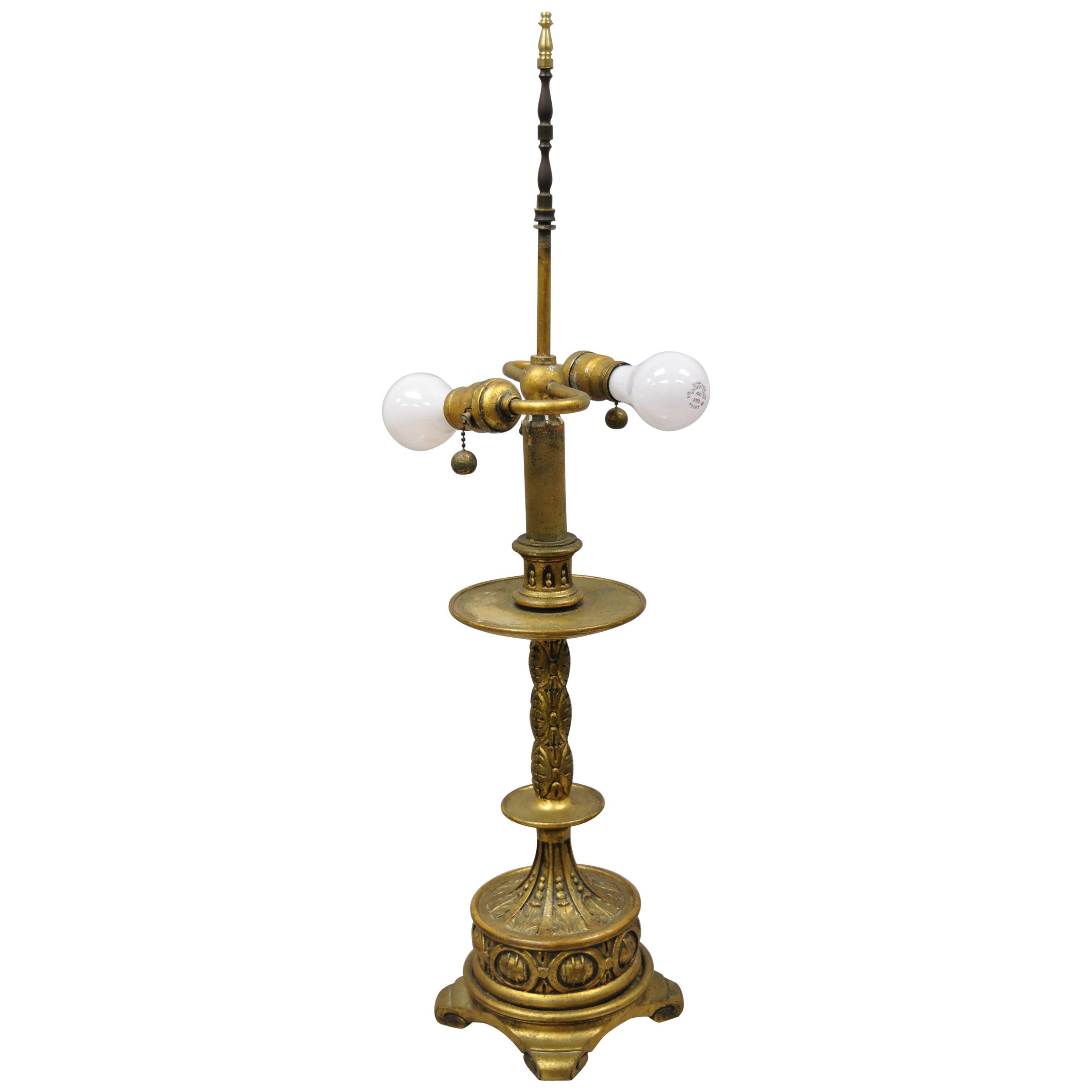 Vintage Italian Gold Giltwood Carved Candle Candelabrum Florentine Table Lamp