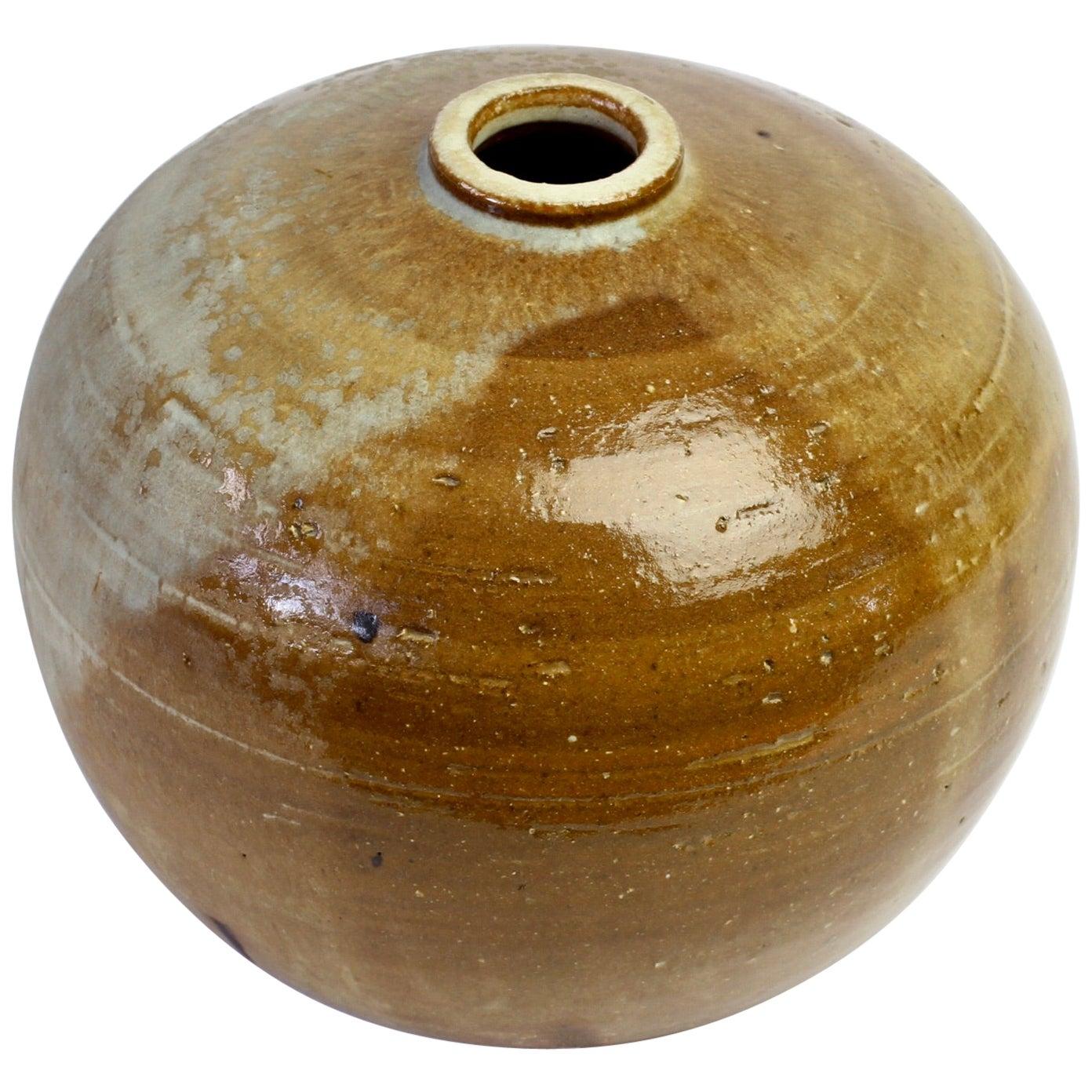 Vintage Glazed Signed European Art Studio Stoneware Pottery Vase or Vessel