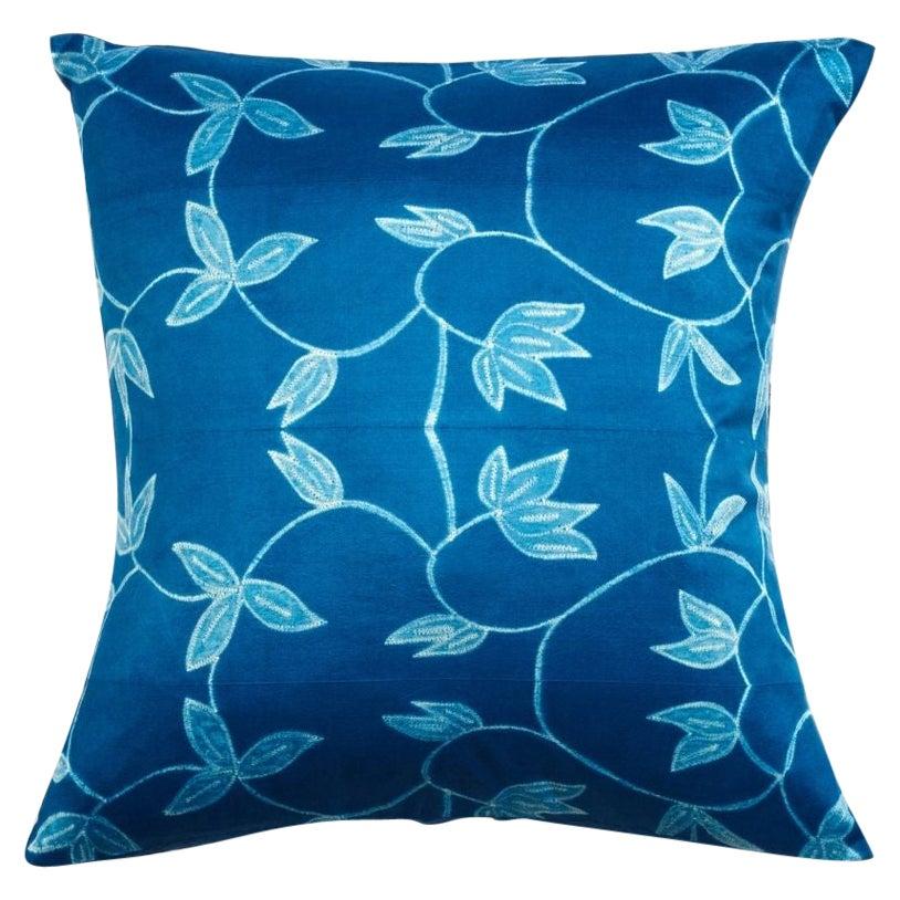 Folio Indigo Floral Pattern Shibori Silk Pillow