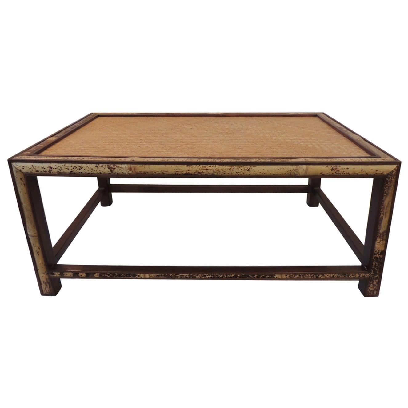 Vintage Bamboo and Rattan Rectangular Coffee Table