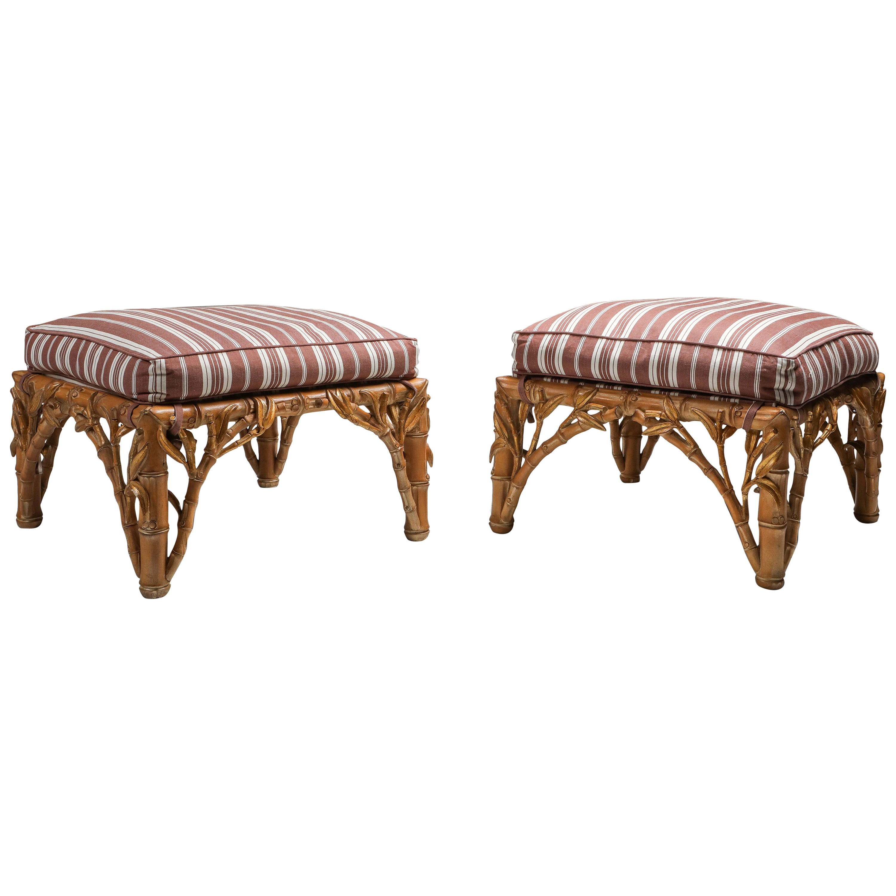 Bamboo Pair of Ottoman, Arpex, Italy, 1970s