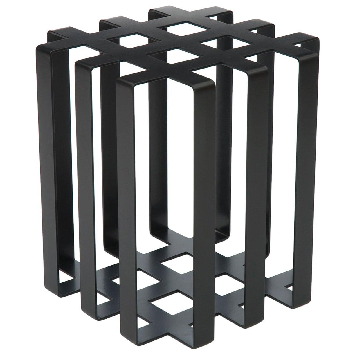 Ramen Geometric Modern Sculptural Side Table Black Powder-Coated Steel