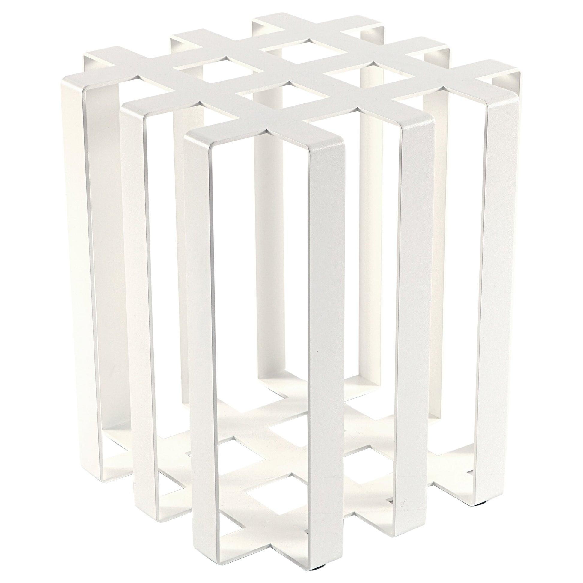 Ramen Geometric Modern Sculptural Side Table White Powder-Coated Steel