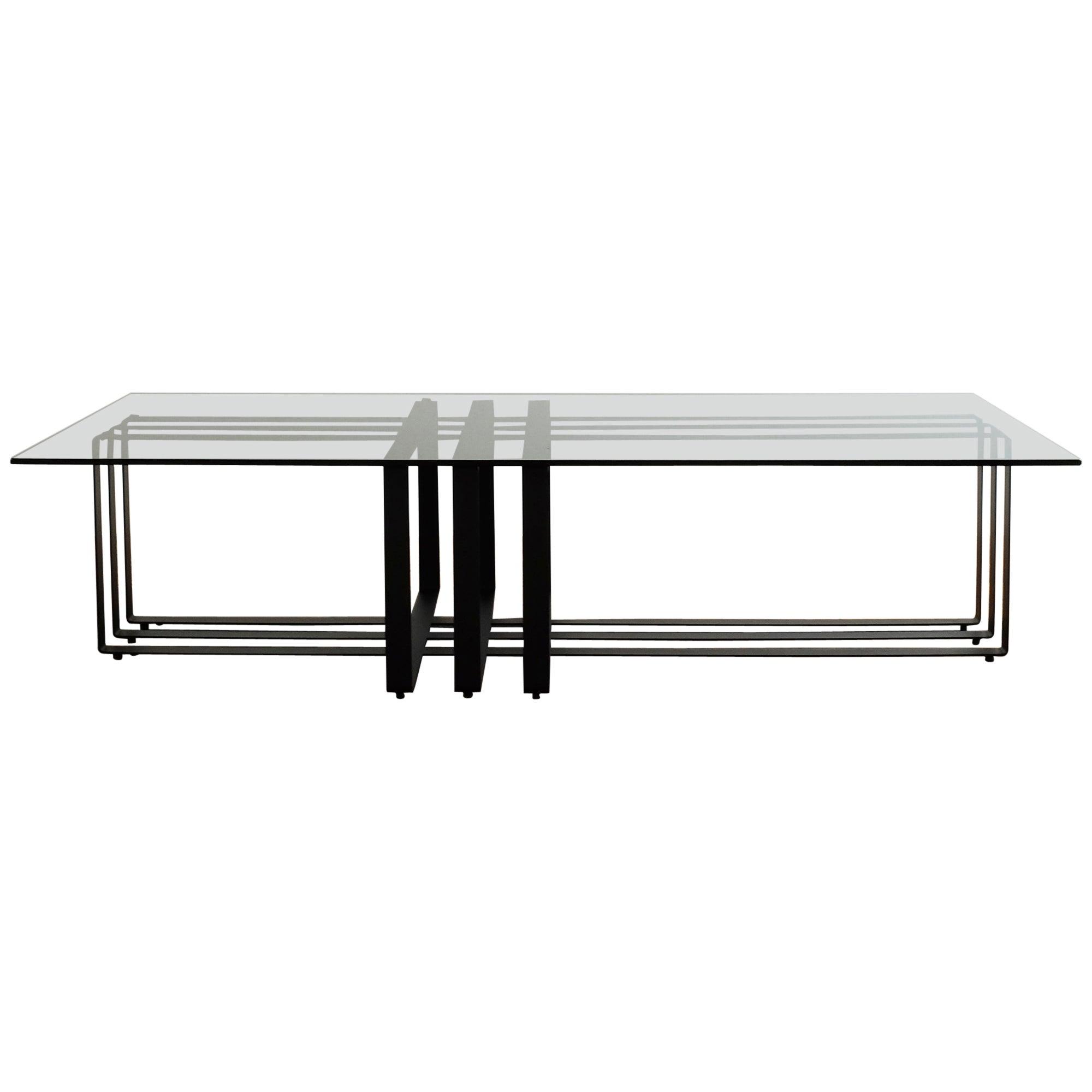Geometric Modern Sculptural Coffee Table Black Frame Smoked Glass Top