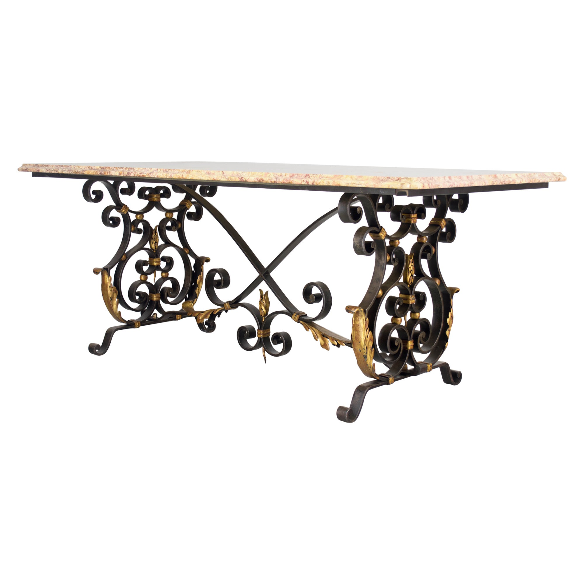 Midcentury French Iron and Marble Center Table