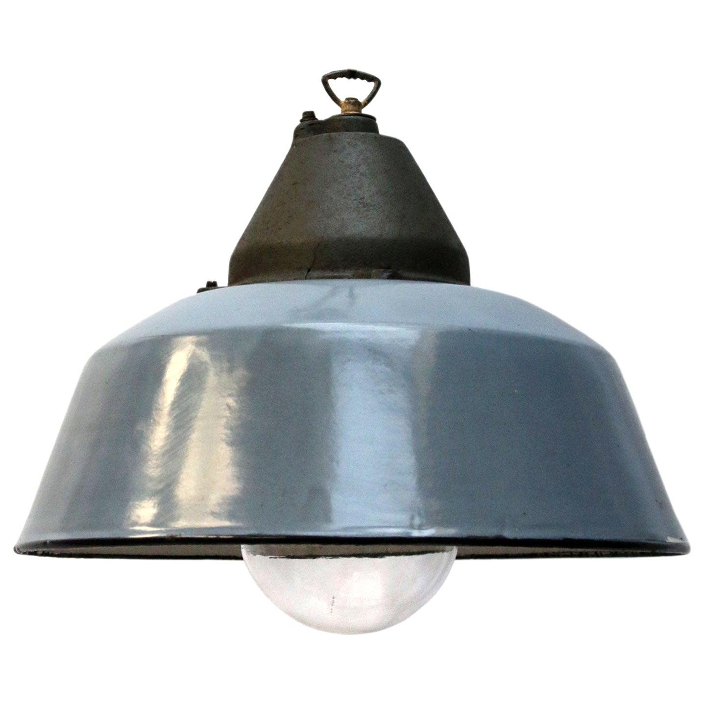 Gray Blue Enamel Vintage Industrial Cast Iron Clear Glass Factory Pendant