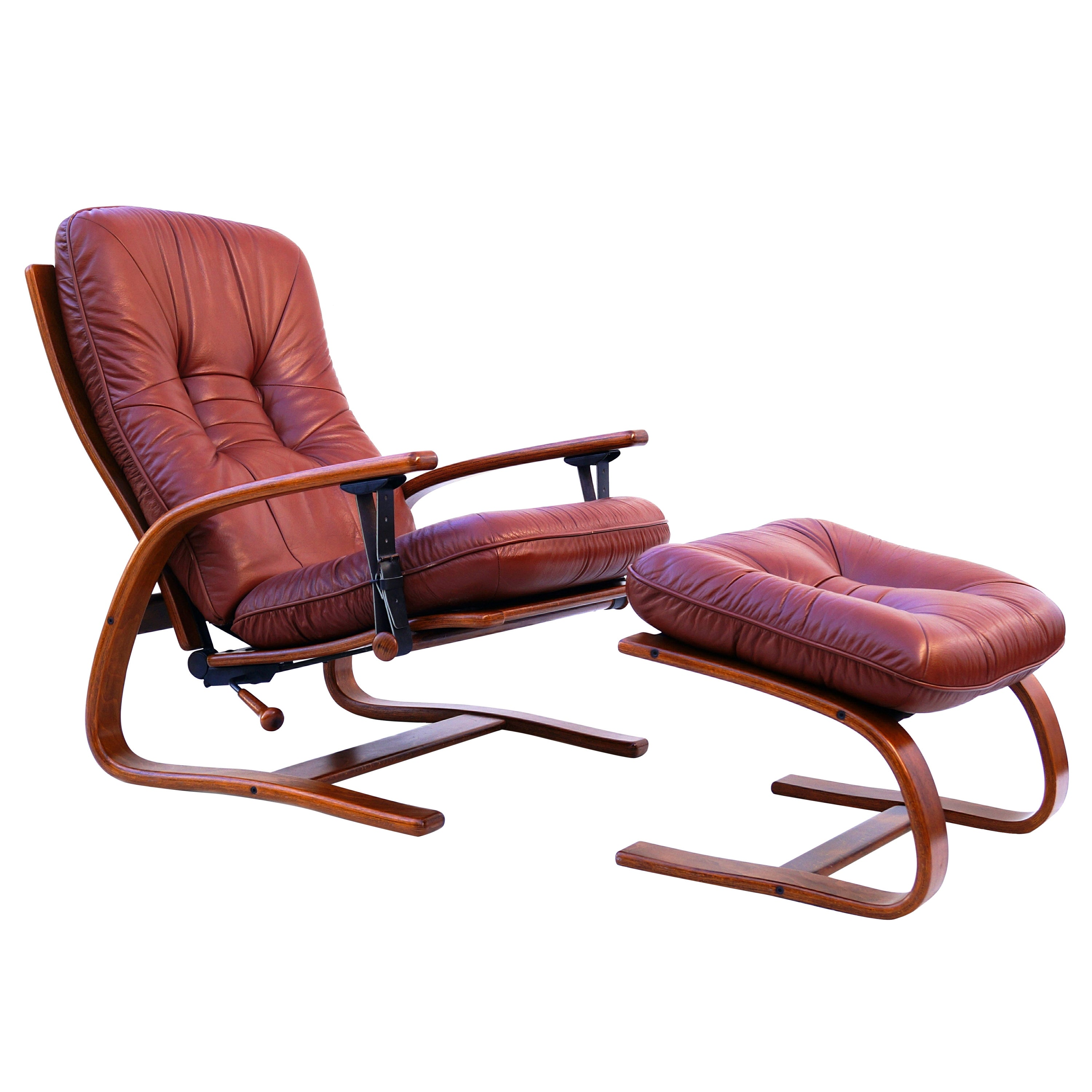 Midcentury Westnofa Leather Reclining Lounge Chair and Ottoman Ingmar Relling