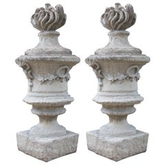 Pair of Large Chateau Size Cast Stone 'Pots A Feu' from France