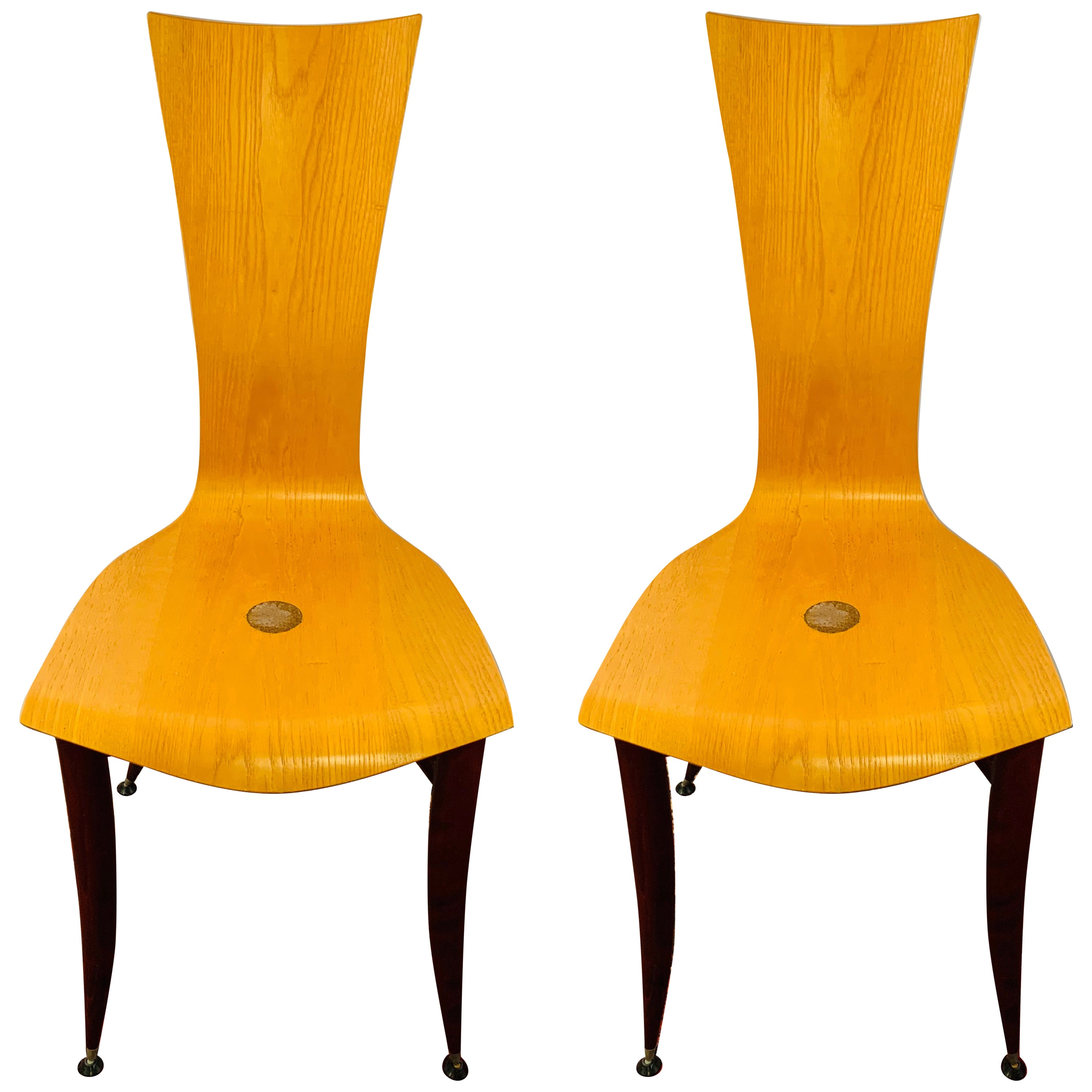 Italian MCM Wooden Chair in the Manner of Umberto Mascagni, a Pair