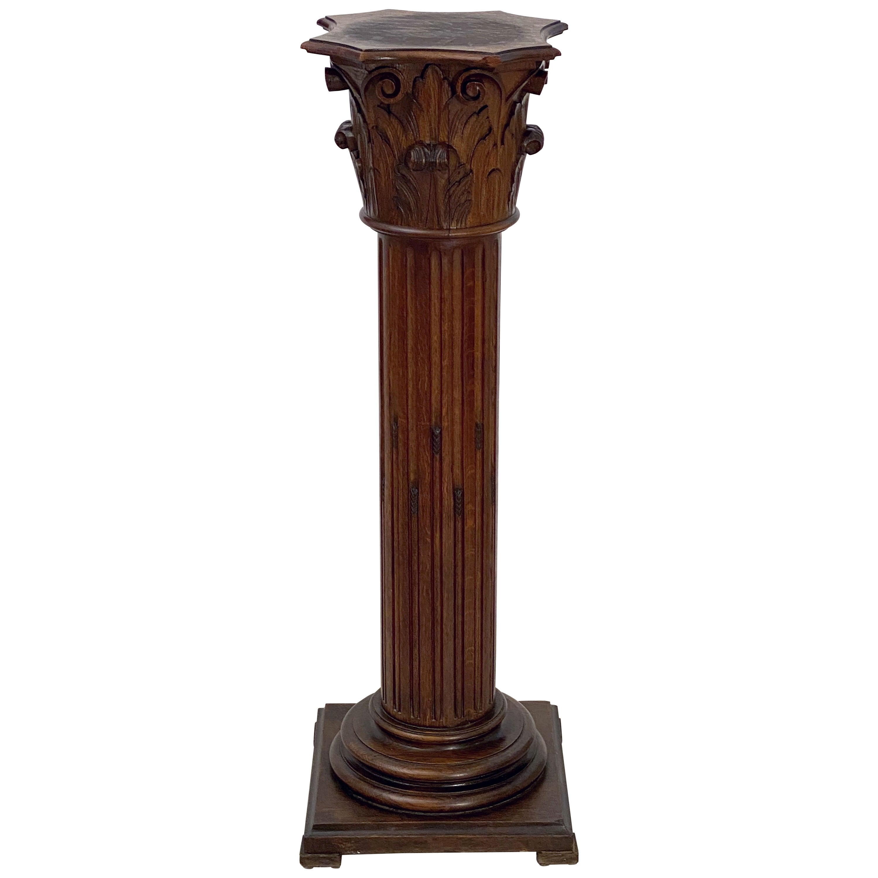 Tall Neoclassical Wooden Column Pedestal Stand or Plinth from France