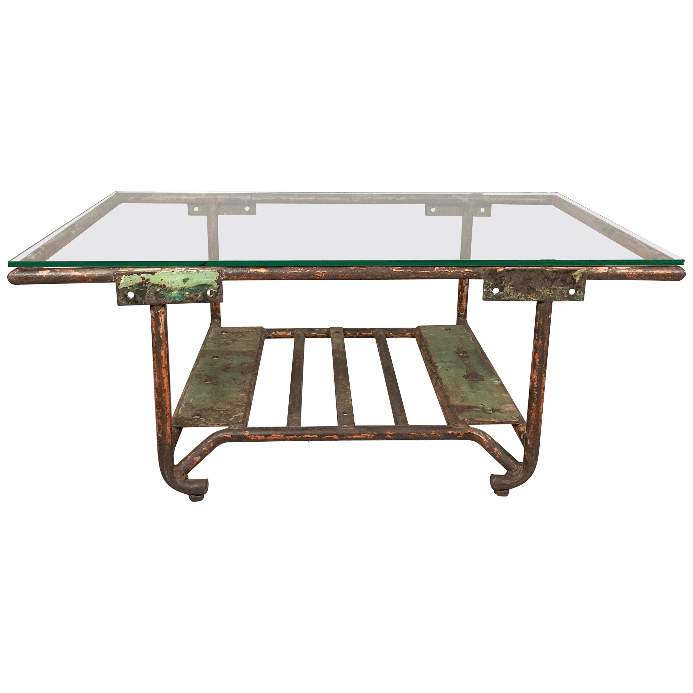 Vintage Industrial Iron and Glass Coffee Table