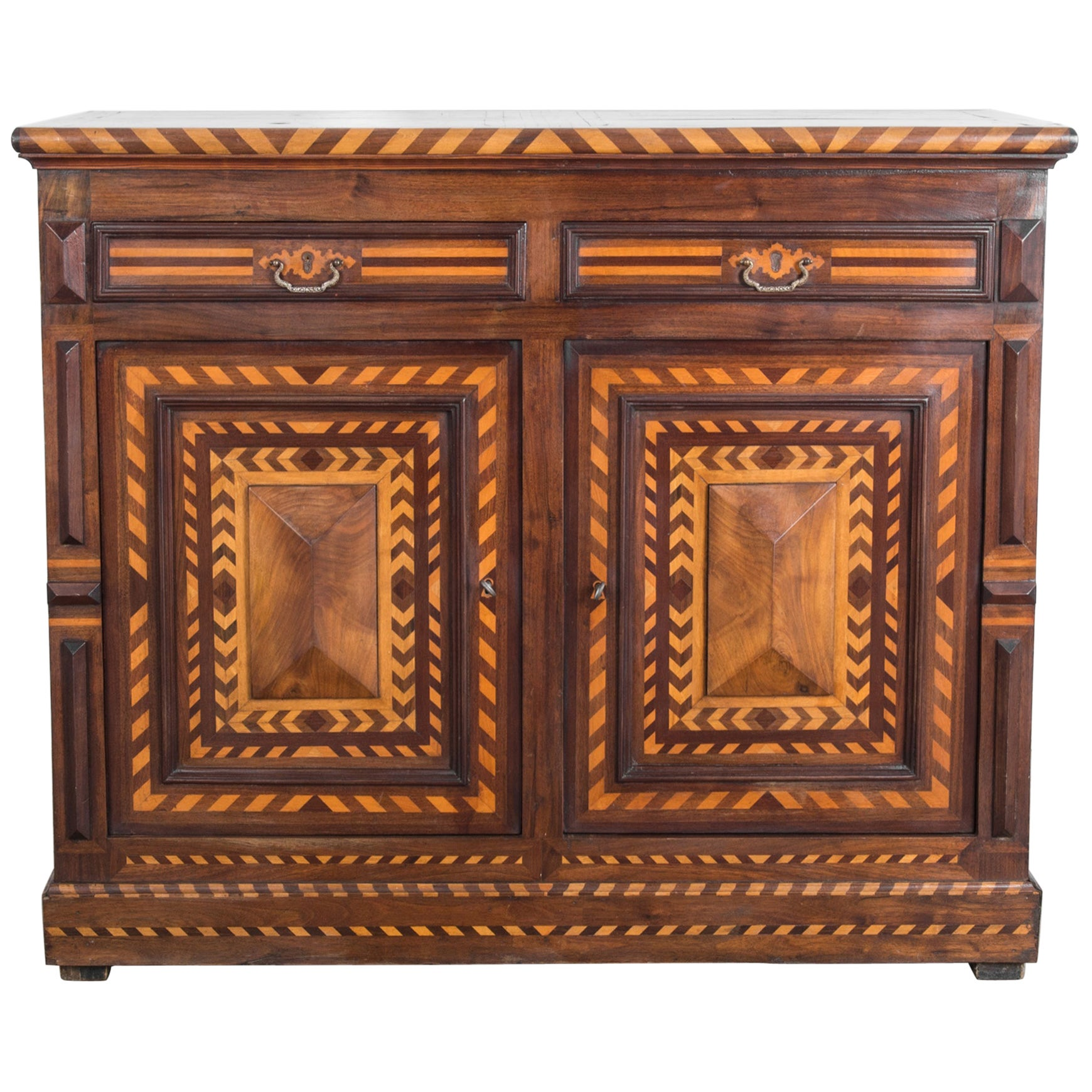 Antique Marquetry Wooden Buffet Cabinet