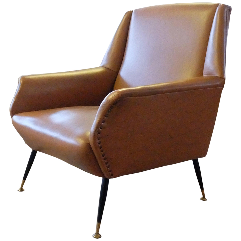 Italian Midcentury Leather Armchair, circa 1950