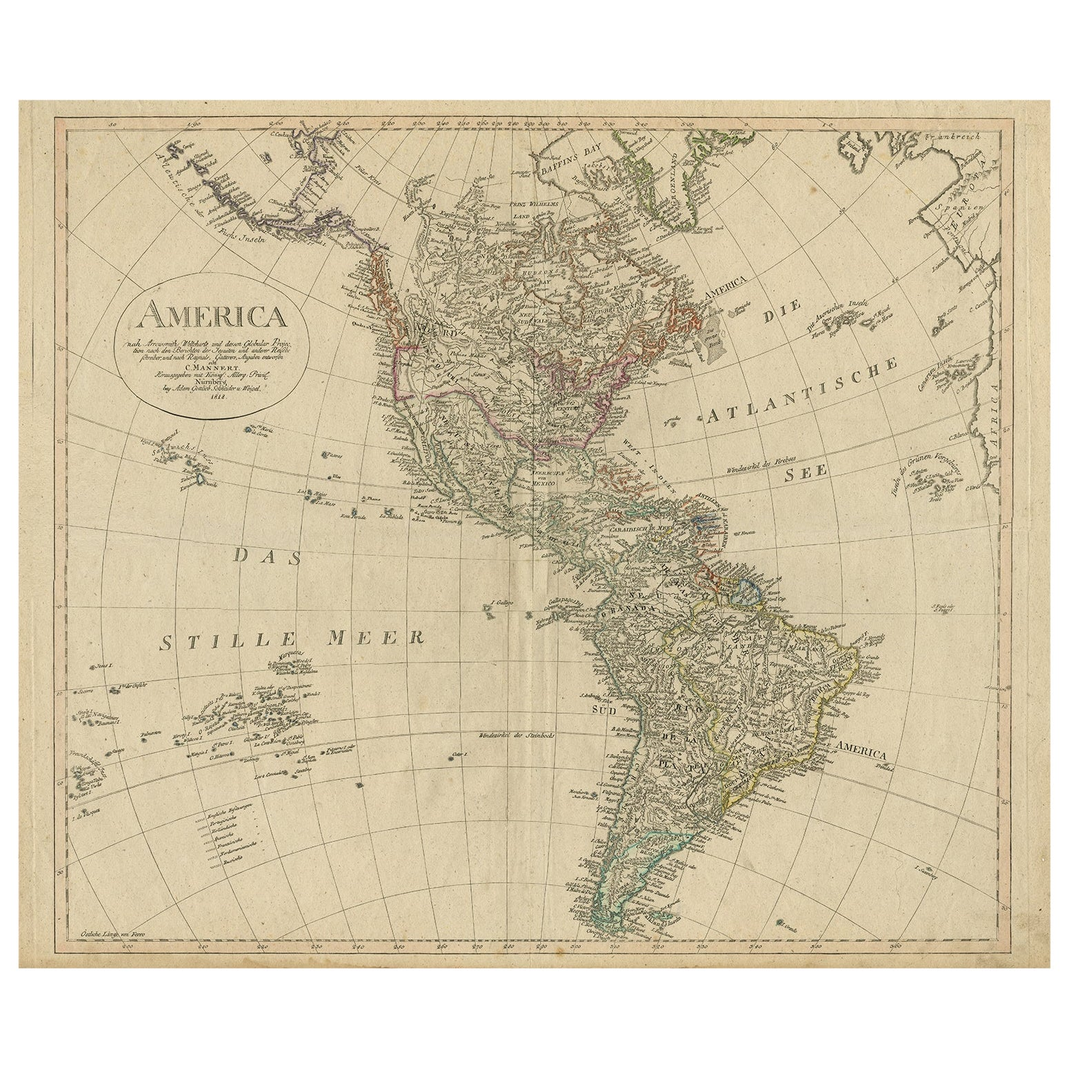 Antique Map of North and South America by Schneider and Weigel, 1818