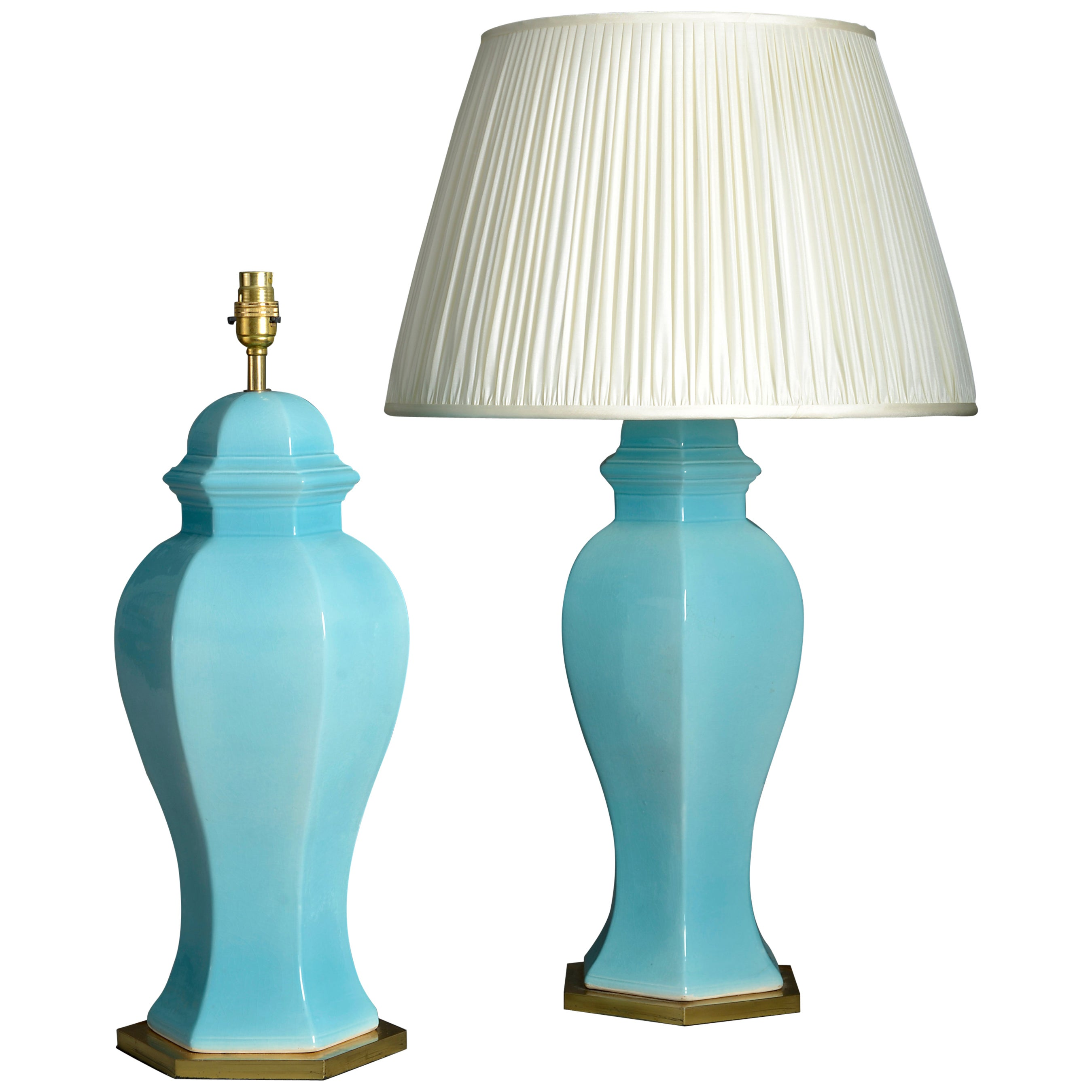 Pair of Midcentury Turquoise Glazed Vase Lamps