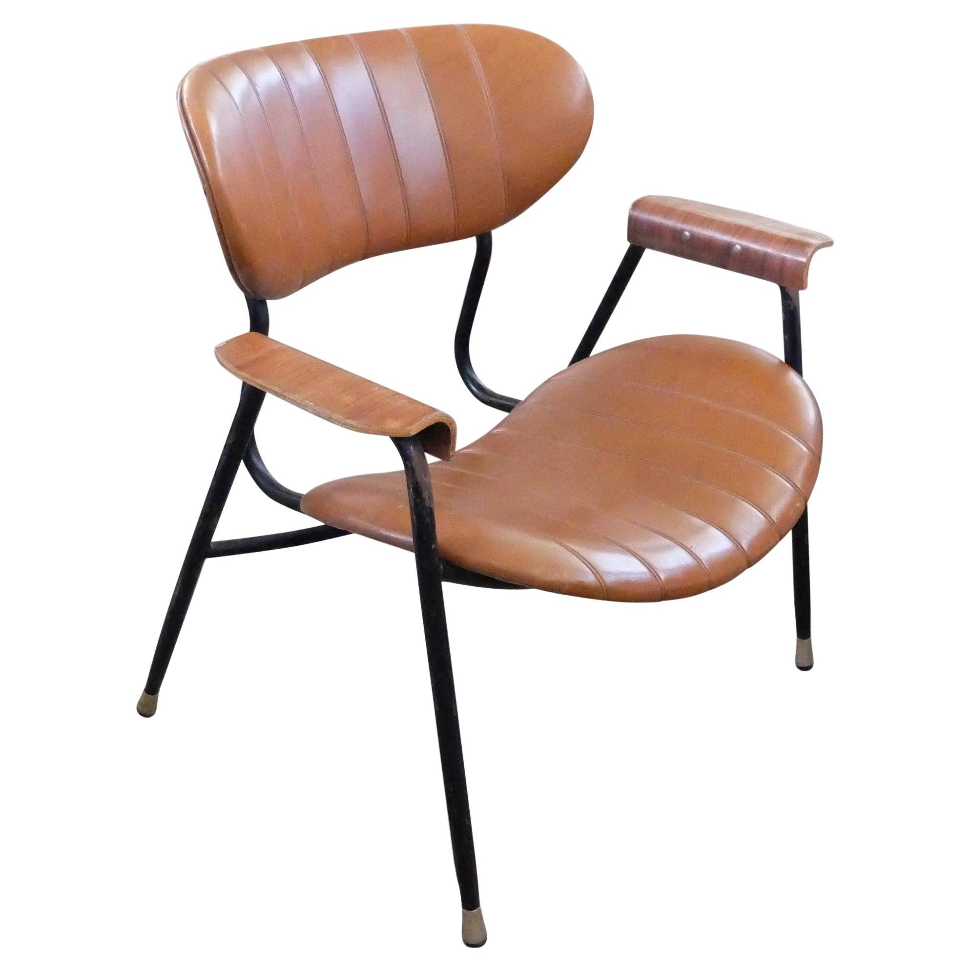Gastone Rinaldi for Rima, Italian Mid-Century Leather Lounge Chair, 1950