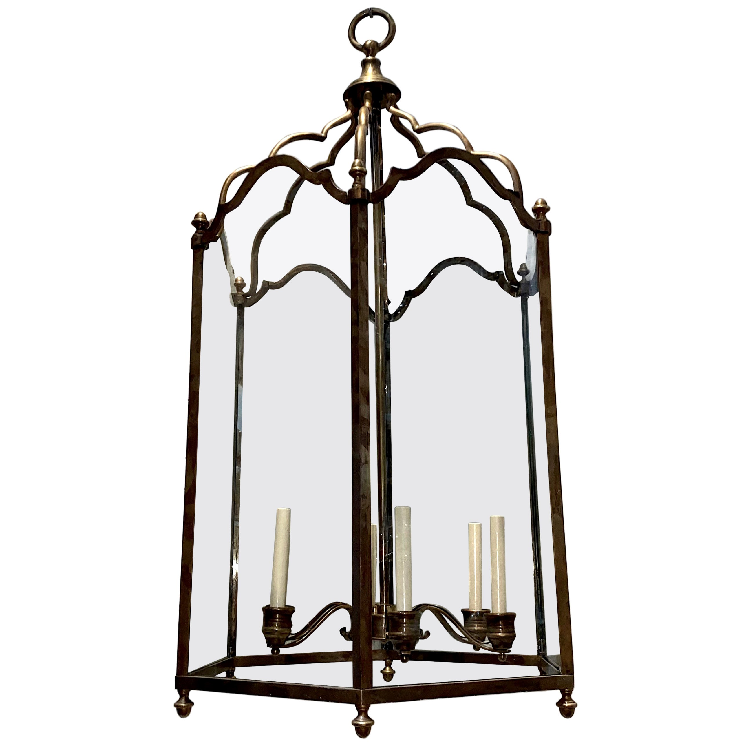 Large English Patinated Bronze Lantern