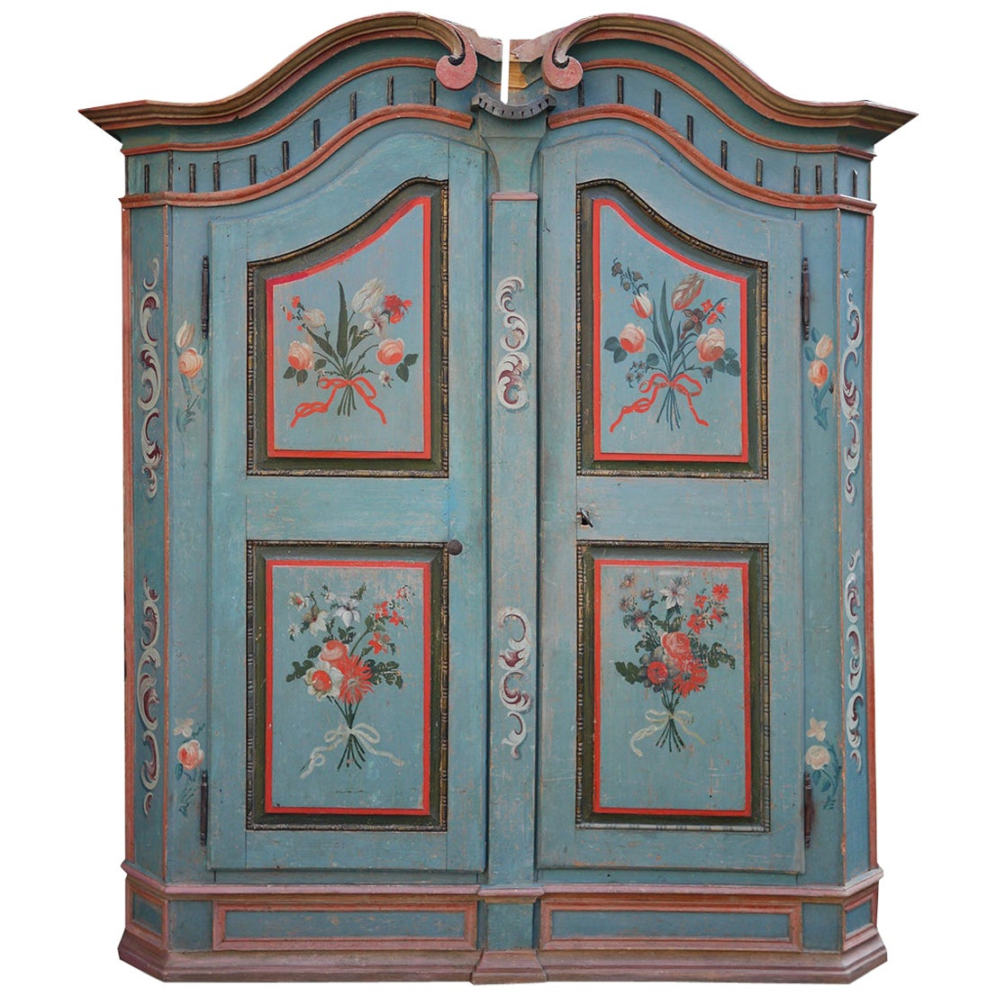 Early 19th Century Light Blue Floral Painted Wardrobe